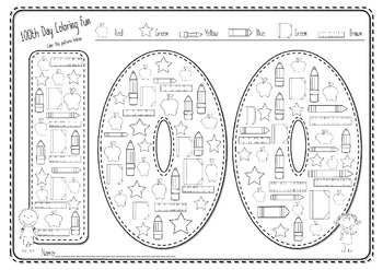 100th Day Of School Color 100 Things By The Kinder Project Tpt 100th Day Of School Coloring Pages