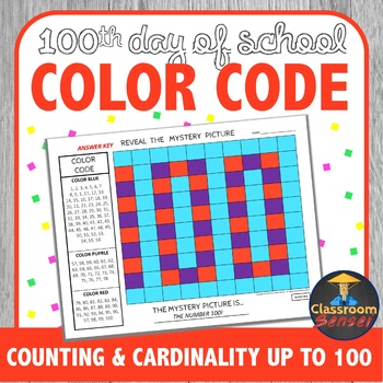 100th Day of School Color Code Counting and Cardinality up to 100