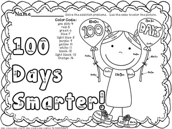 100th Day of School Color by Code Addition and So Much More!