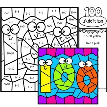 100th Day of School Color by Number Addition to Ten Worksheets