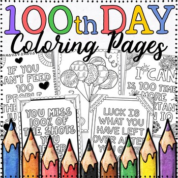 100th Day Coloring Page Teaching Resources | Teachers Pay Teachers