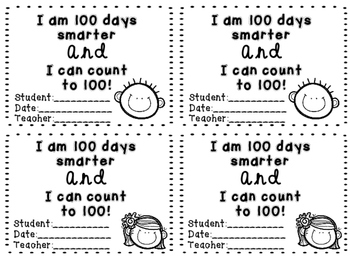 100th Day of School Counting to 100 Certificate