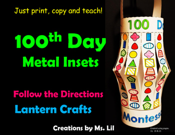 100th Day of School Craft  ::  100 Day Math  ::  Montessori Metal Insets