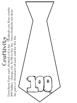 picture regarding Tie Printable named 100th Working day of University Craftivity Printables
