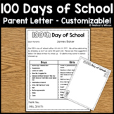 100th Day of School Customizable Parent Letter Home