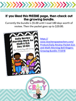 100th Day of School Daily Review Freebie by Creatively Crazy With Learning