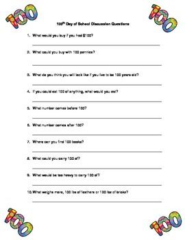 100th Day of School Discussion Questions