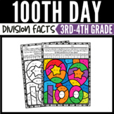 100th Day of School Division Color by Number Worksheets