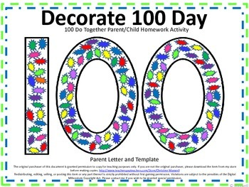 100th Day Of School Do Together Parent Child Homework