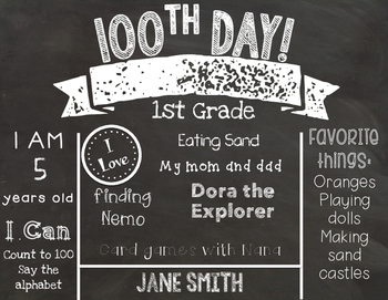 100th day of school editable chalkboard sign bundle us spelling