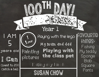 100th Day of School Editable Chalkboard Sign - UK Spelling