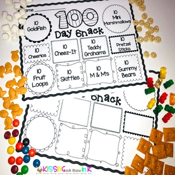 100th Day Of School Editable Snack Mat Tpt