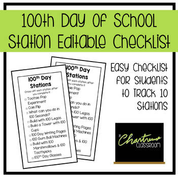 100th Day of School Editable Station Checklists