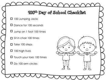 100th Day of School Excercise