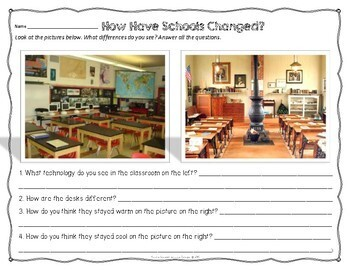 100th Day of School - Communities Then and Now FREEBIE