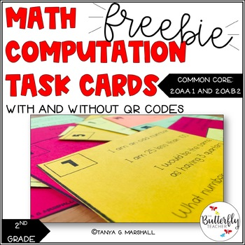 FREE Math Word Problem Task Cards for 2nd Grade | QR Code Math Task Cards