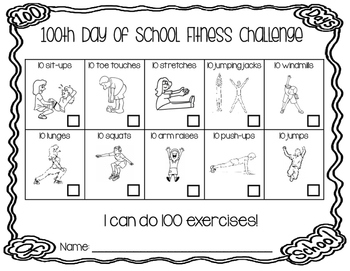 100th Day of School Fitness Challenge - I Can Do 100 Exercises