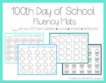 100th Day of School - Fluency Mats