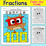 100th Day of School Math: Color by Fractions Owl Picture