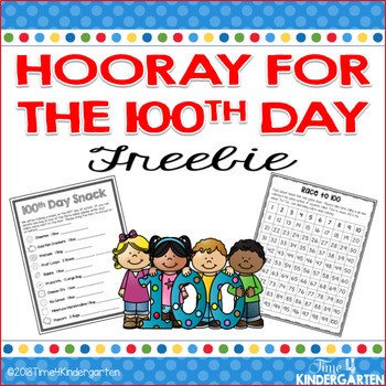 100th Day of School Free Activity and Snack Collection Sheet