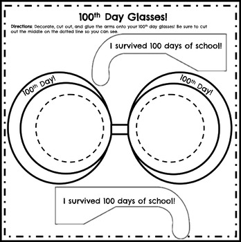 100th Day of School Glasses Activity