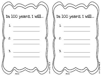 100th Day of School Goal Setting FREEBIE