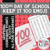 100th Day of School Graphing Coordinate Points: 100 Emoji