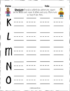 100th Day of School Handwriting Practice Writing Letters-Uppercase and Lowercase
