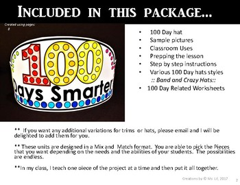 100th Day of School Hat  ::  100th Day of School Activities