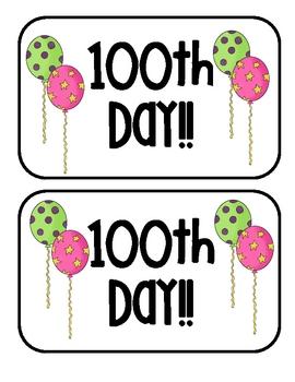 100th Day of School Hat Topper Freebie