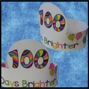 100th Day of School Hats, Coloring Activity, 100 Days of School Activities