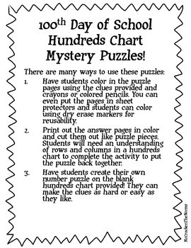 100th Day of School- Hundreds Chart Mystery Puzzle