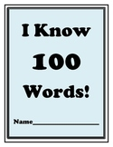 100th Day of School:  I Know 100 Words