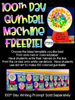 100th Day of School / Kindergarten Gumball Machine FREEBIE