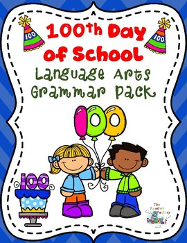100 Days of School  Language Arts Grammar Review Color by Code Pack