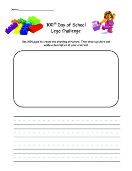 100th Day of School Lego Challenge Recording Page