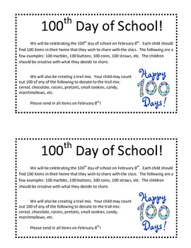 100th Day of School Letter