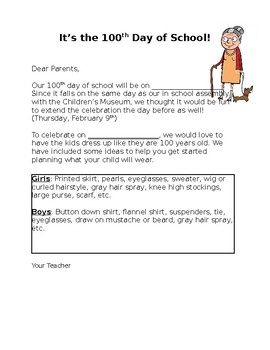 100th Day of School - Letter