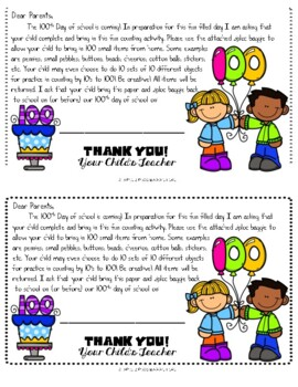 EDITABLE 100th Day of School Homework Project Letter