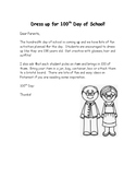 100th Day of School Letter to Parents