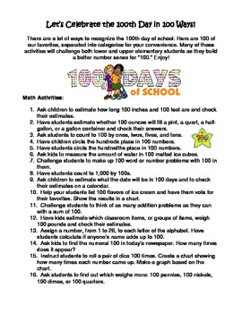 100th Day of School - List of 100 Activities Elementary All Subjects Fun Ideas