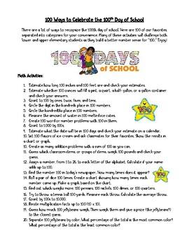 100th Day of School - List of 100 Activities Elementary Al