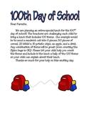 100th Day of School Lunch- Letter to Parents