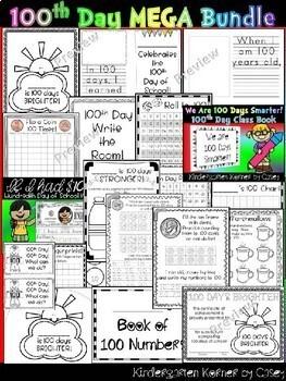 100th Day of School NO PREP MEGA Bundle - Kindergarten 1st Math Writing Literacy