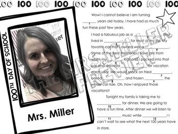 100th Day of School Mad Lib (Editable)