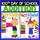 100th Day of School Math Addition Color by Number Free