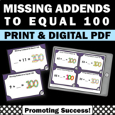 Missing Addends Task Cards, 100th Day of School Activities, 2nd Grade Math Games