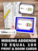 Missing Addends Game with Task Cards, 100th Day of School Activities