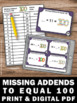 Missing Addends to 100 Task Cards 100th Day of School Math
