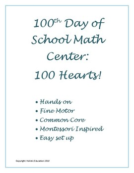 100th Day of School Math Center
